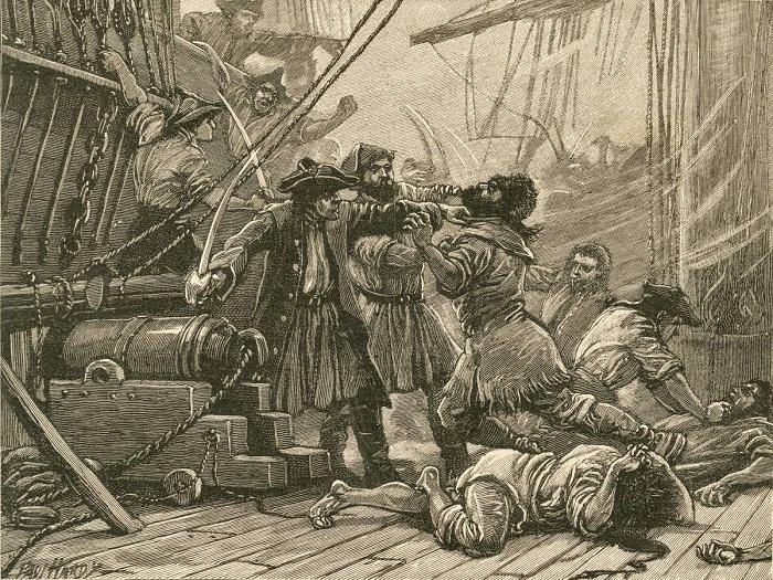 Пираты захватывают американское судно. Иллюстрация из книги Cassell's Illustrated History of England.